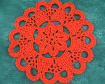D-94. Halloween Crochet Doily Pumpkin Doily Crochet Orange Doily Hand crocheted Lace MANDALA Crochet Round Doily