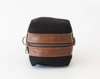 SALE Cosmetic bag in black cotton and brown leather, toiletry case accessory bag utility bag zipper pouch  - Cube