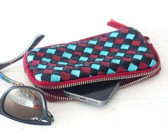 Red handwoven leather zipper pouch, phone case zipper phone case money bag iphone 7 zipper purse - The Antheia Zipper pouch