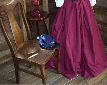 Skirt with Sash - Renaissance Civil War Victorian LARP Cosplay Dickensonian Pioneer dress costume