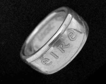 Hand Forged Double Sided Silver (75%) Coin Ring - Ireland Florin