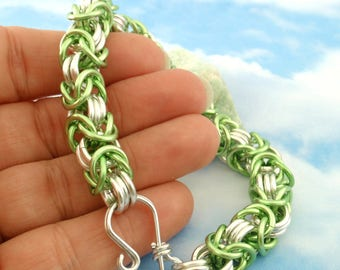 Byzantine Chainmaille Bracelet Kit - 14 gauge with 3 Connectors Anodized Aluminum - Fun and Easy - You Pick Colors