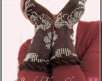 Beaded Flower Gloves - beaded crochet fingerless gloves, party gloves, glamour gloves