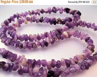 XMAS in JULY SALE Vintage Amethyst Nugget Necklace with Sterling Clasp 32""