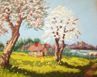 SALE - Vintage Hand Stitched Needlepoint Picture, 1960s, Pastoral design