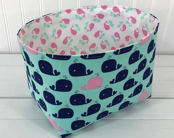 Whale Nautical Storage Basket Nursery Decor Baby Girl Room Decor Home Decor Baby Shower Gift Whales Pink Blue Mint