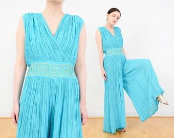 80s Blue Cotton Gauze Jumpsuit | Lurex Striped Romper | Boho GRECIAN Wide Leg Palazzo Pantsuit | Metallic Gold Embroidered Jumpsuit | S M