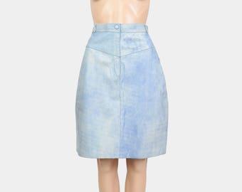 80s Sky Blue Leather Skirt | Stonewash Denim Bandage Mini Skirt | High Waisted Skirt | Fitted Wiggle Skirt | Leather Pencil Skirt |
