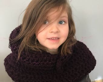 Toddler Eggplant Hooded Cowl