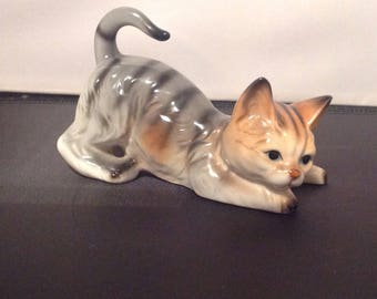 VintageTabby Cat Ornament, Vintage Brocante Cat Figurine