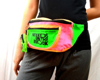 Vintage 1990 NKOTB New Kids on the Block NEON Pink Fanny Pack