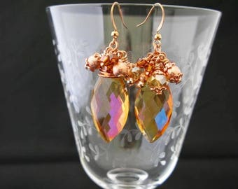 Rose Gold wire wrapped AB Cluster Earrings