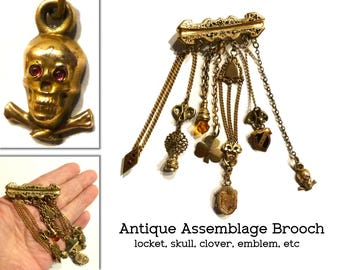 """Victorian Chatelaine Style Brooch. One of a Kind Assemblage of Mementos Dangle Pin. Tiny Locket. Antique Skull & Crossbones Charm. 2"""" by 4"""""""