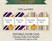 FALL FALLBACK  HALLOWEEN  Editable  Instant Download Printable Orange Purple Black Favor Tags/Cards/ Labels/ Thank You/