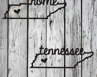 SVG, PNG, DXF Cut File, Tennessee Home Sweet Home, Silhouette Cut File, Cricut Cut File, Heart, State, Volunteer State