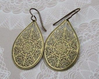BOHO Gypsy Brass Earrings on Etsy by APURPLEPALM