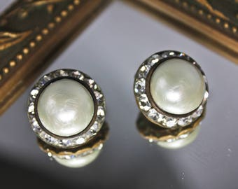 Vintage Clear Rhinestone and Faux Pearl Clip On Earrings, c1950s, Vintage Clip On Pearl Earrings, Vintage Bridal Earrings