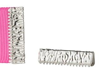 16pcs. 22mm or 7/8 inch Platinum SIlver No Loop Ribbon Clamp End Crimps - Artisan Series