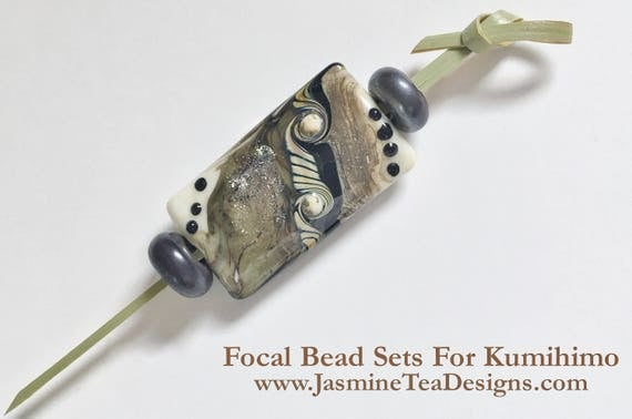 Dreamers Stardust Kalera Focal Bead With Gunmetal Spacer Beads, Large Hole Focal Beads, 3 Piece Focal Grouping Set, Focal Beads For Kumihimo