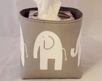 Mini Fabric Organizer Basket Storage Bin Container - Gray and White Elephants - Choose your Lining Color