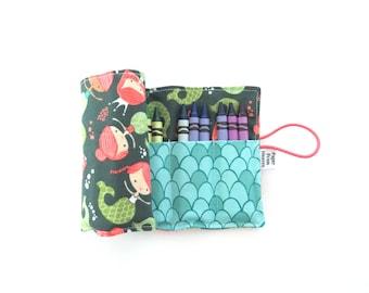 Crayon Roll - Teal Mermaid - flower crayon holder, toddler gift, girls gift, preschool coloring, kids journaling