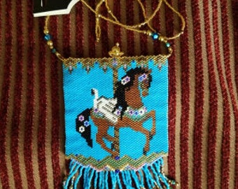 Carousel Beaded Pouch Necklace