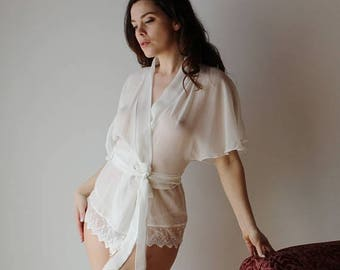 sheer silk wrap or bed jacket with lace trim -BROOK silk chiffon bridal range - made to order
