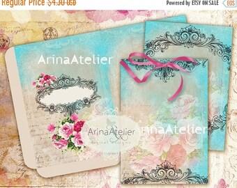 SALE 30% OFF - Vintage Cards and Envelopes - Vintage Roses -  digital collage sheet - set of 2 sheet - Printable Download