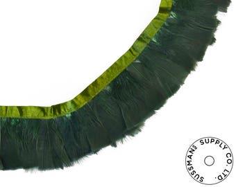 "Feather Trim - Turkey Marabou Feather Fringe Trims - Forest Green - 4""-4.5"" (1 yard)"