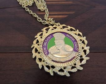 Vintage Krewe Of Iris Mardi Gras Pendant/Necklace/Medallion
