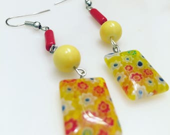 Earrings - Dangle - Colorful - Bright Red and Yellow Milliefori Beads