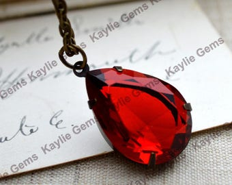 Red Romance - Antique Style Tear Drop Ruby Siam Jewel Necklace in Antique Brass Finish