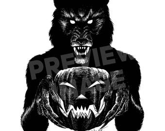 Monster Holiday: Werewolf Original Halloween Ink Drawing