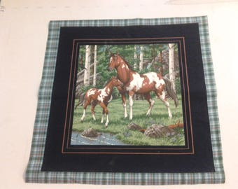 Fabric Panel of Horse and Colt with trees and stream 248077