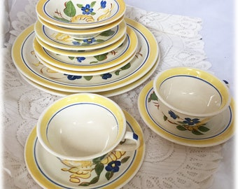 Service for 2 Red Wing China 12 Pcs BRITTANY Yellow Rose Blue Flowers Handpainted or Individual Place Settings