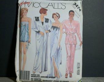 Vintage McCalls Easy 3474 Lingerie Medium / 1987 Easy McCalls Lingerie Pattern for Women Size Medium / Lingerie Sewing Pattern 1980s