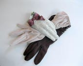 Two Pair Vintage Gloves, Beige and Brown Gloves, Size 7 1/2, Dressy Gloves, Special Occasion, Bridal, Wedding, by mailordervintage on etsy
