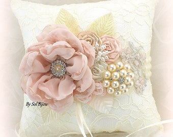 Ring Bearer Pillow,Blush,Cream,Ivory,Elegant Wedding,Bridal Pillow,Lace Pillow,Brooch Pillow,Vintage Wedding,Crystals,Pearls,Gatsby Style