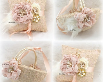 Wedding Ring Pillow,Flower Girl Basket,Champagne,Gold, Rose,Rose Gold, Blush,Feathers,Vintage Style,Gatsby,Lace Basket,Lace Ring Pillow