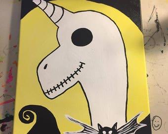 Jack Skellington Unicorn fan art acrylic on canvas, ready to hang, home decor, skull, nightmare before christmas, tim burton
