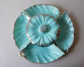 Vintage mid-century California Pottery serving set Aqua California Orginals pottery divided dish set 1950s California Pottery