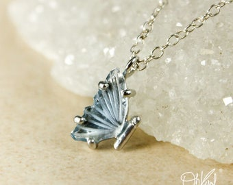 Silver Blue Tourmaline Butterfly Necklace - Single Butterfly Wing - Natural Tourmaline