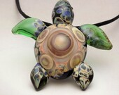 Glass Turtle Necklace, Blown Glass Pendant, Sea Turtle, Spotted Back, Turtle Art Glass Necklace, Beach Jewelry, by J Hills Glass Art