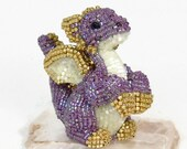 Dragon Figurine Miniature Purple Beaded Fairytale Gift Woodland Fantasy Animal Totem *READY TO SHIP