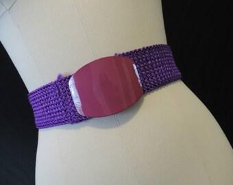purple stretch belt 1980s accessory vintage raffia elastic wasp waist belt medium large