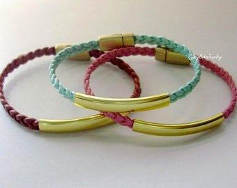 Single Flat  BRAIDED  LEATHER Bracelet - Genuine Natural Leather Large Gold TUBE W/ Magnetic Clasp  Stackable Boho Leather Bangle  Usa