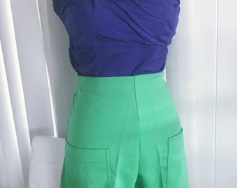 Vintage Beach Baby -- Lime Green Ladies Catalina High Waist Shorts front the 1960's -- Size M