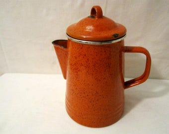 Coffeemaker, Percolator Coffeemaker,Porcelain Enamelware Orange Speckled Stove-top