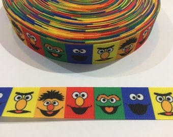 3 Yards of 7/8 inch Ribbon -Seseme Street Cookie Monster and Big Bird