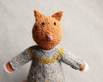 Knitted Fox Plushie Toy with Clothing